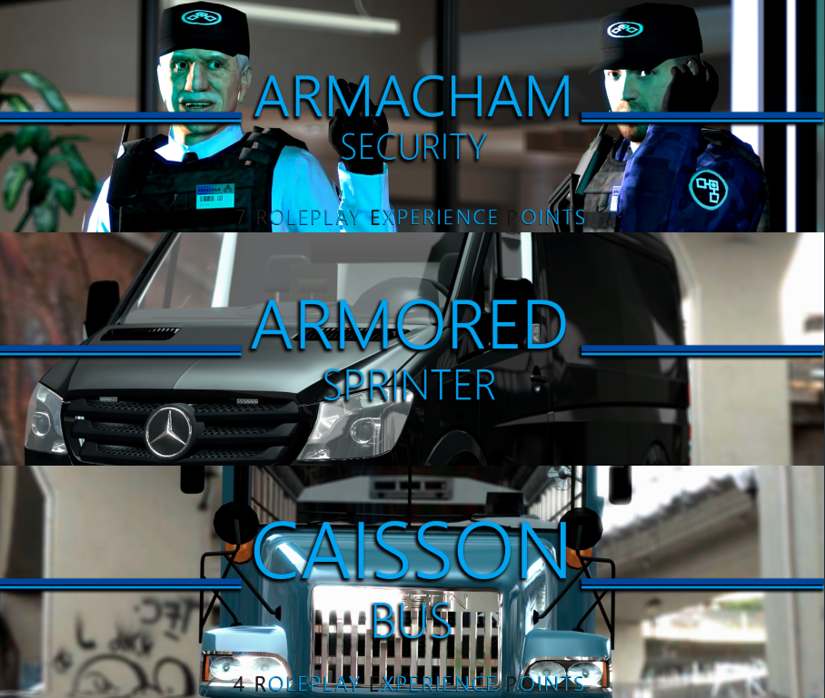The REP banners for Armacham Security, Armoured Sprinter and Casson Bus